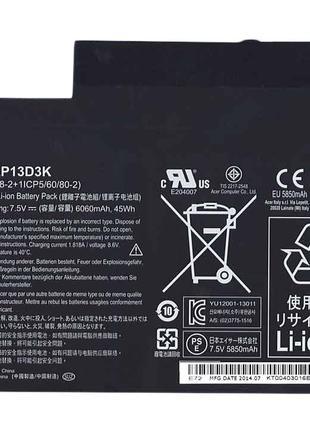 Аккумулятор Acer Acer AP13D3K Aspire S3-392G 7.5V Black 6060mAh