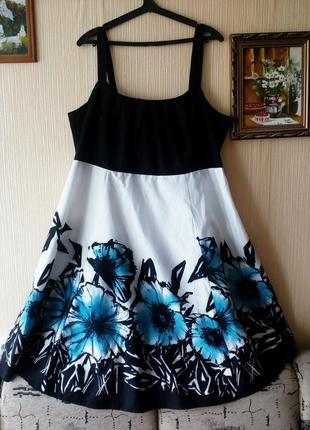 Летнее платье большого батального размера из хлопка