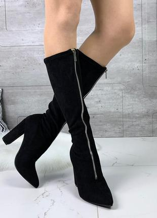 Замшевые сапоги с молниями, чёрные замшевые сапоги на каблуке