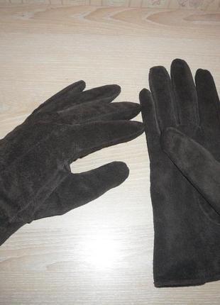 Перчатки женские коричневые натуральный замш размер м