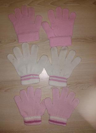 Варежки перчатки 4 пары двойные и обычные набор 3-5 лет