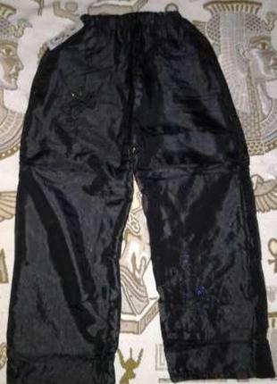 Теплые плащевые штаны на флисе для девочек. распродажа!