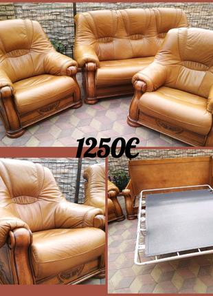Кожаный гарнитур Гризли/купить кожаный диван/диван раскладной