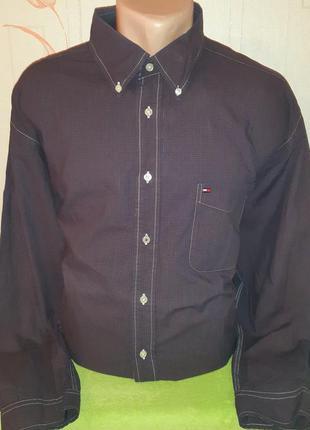Фиолетовая рубашка в клетку tommy hilfiger,  made in mauritius