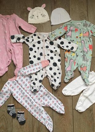 Человечки, ползунки: набор детской одежды некст next 0-3 месяца