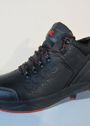 Мужские кожаные зимние ботинки/кроссовки в стиле ecco