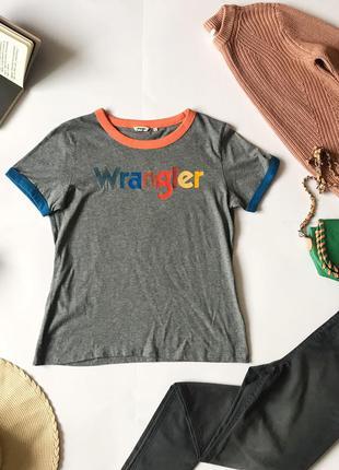 Ценопад! 🔥 крутая футболка фирменная wrangler c надписью. р-р l