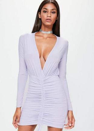 Новое! лиловое платье по фигуре на запах с длинным рукавом mis...