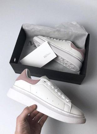 Женские кроссовки alexander mcqueen white pink