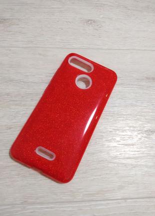 Xiaomi Redmi 6a / 6 чехол силиконовый красный с блестками