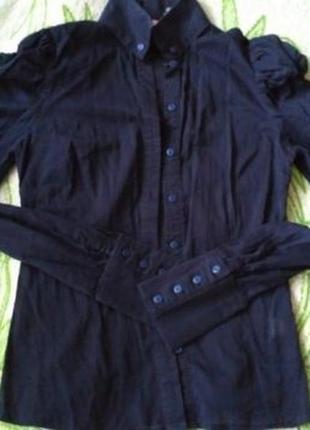Блузка, рубашка темно- синяя