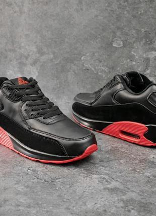 Мужские кроссовки кожаные зима Стили Беджер 90 черно-красные |...