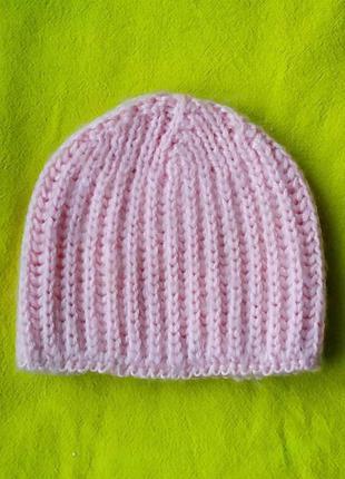 Ручная вязка женская шапка бини новая ангора пудровая универс р-р