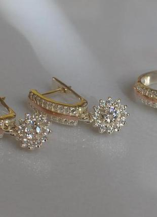 Набор серебро 925 с золотом кольцо и серьги 175