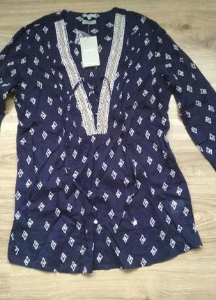 Хлопковая блуза с вышивкой бисером