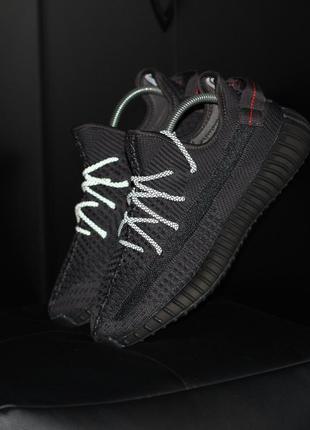Adidas yeezy 350 v2 black шикарные мужские кроссовки адидас ре...