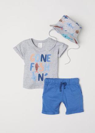 H&m комплект 86 и 98 см футболка + шорты + панама