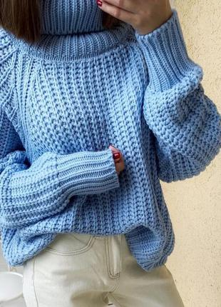 Новый свитер небесно голубого цвета оверсайз размер м