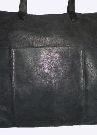Стильная большая сумка натуральная замшевая кожа с лазерным по...