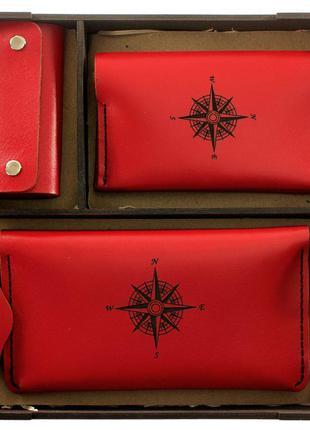 Женский подарочный набор (комплект аксессуаров) — красный.
