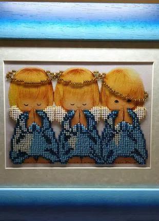 Картина вышитая бисером Три ангелочка