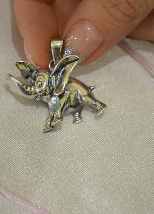 Кулон слоник дамбо из серебра