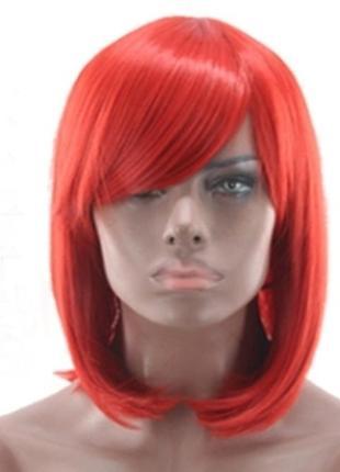 Парик прямой каре с косой челкой красный 3608