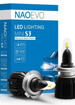 Светодиодные LED авто лампы S3 MINI NAOEVO ЛЭД H4 H7 H1 с четк...