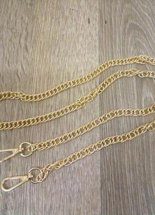 Цепочка ручка для сумки клатча с карабинами цвет золото 120см ...