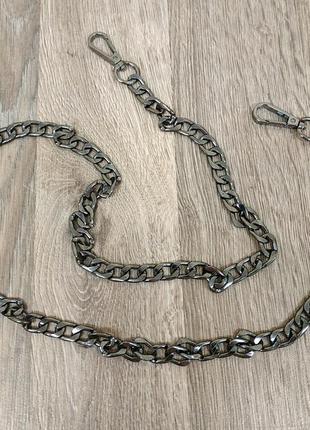 Ручка цепочка для сумки клатча черная с карабинами 12мм 231736