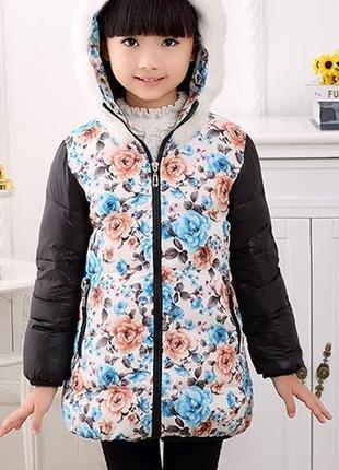 Пуховик для девочки с цветами и черными рукавами куртка детска...