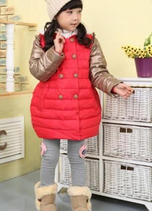 Пуховик для девочки красный с бронзовыми рукавами куртка детск...