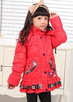 Пуховик для девочки оранжевый снупи snoopy куртка детская 134