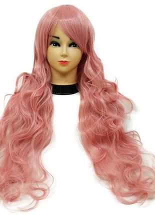 Парик волнистый розовый 3496
