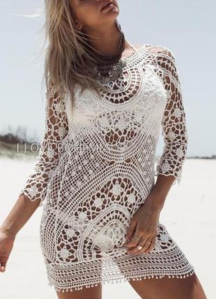 Туника пляжная ажурная кремовая для пляжа