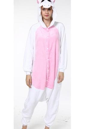 Пижама кигуруми единорог белый с розовым животом и крыльями ро...