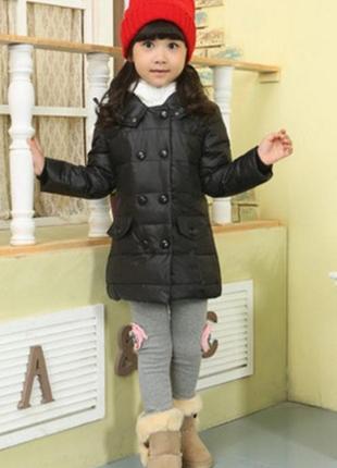 Пуховик для девочки черный с белой вставкой детский куртка 122...