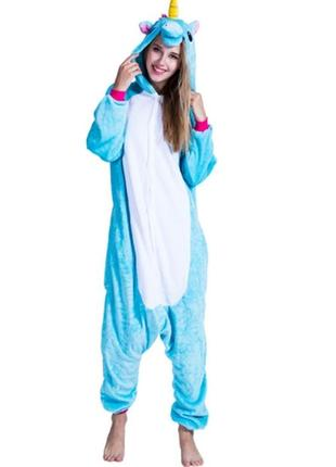 Пижама костюм кигуруми единорог голубой май литл пони с розово...