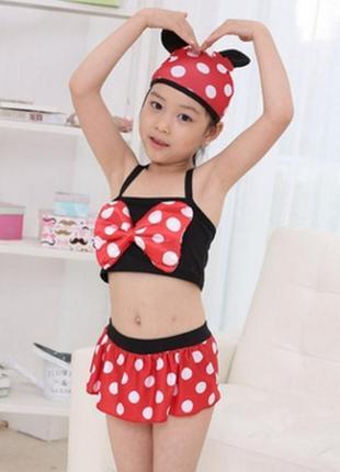 Купальник для девочки детский раздельный минни маус с шапочкой...