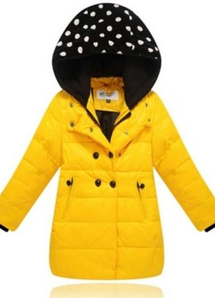 Пуховик желтый для девочки парка куртка детская 128 134 146