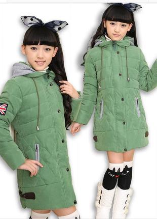 Пуховик зеленый для девочки парка куртка детская 128 1855