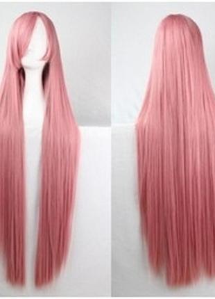 Парик прямой розовый 100см 3529
