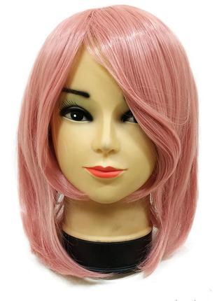 Парик каре розовый с косой челкой 3644