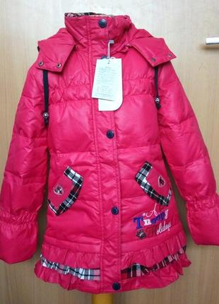 Пуховик для девочки фуксия снупи snoopy куртка детская 134