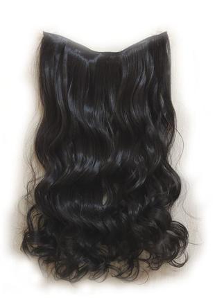 Трессы волосы на заколках затылочная прядь темный коричневый 5...