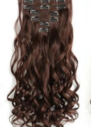 Трессы термо волнистые набор 16 клипс темно-коричневые волосы ...