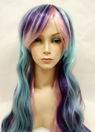 Парик волнистый разноцветный голубой синий розовый 3511