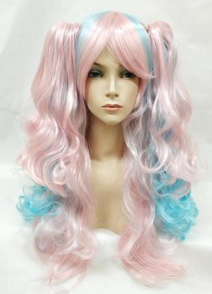 Парик разноцветный розовый с голубым лолита волнистый с хвоста...