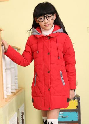 Пуховик красный для девочки парка куртка детская 128