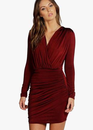 Вечернее платье с длинным рукавом лиф на запах